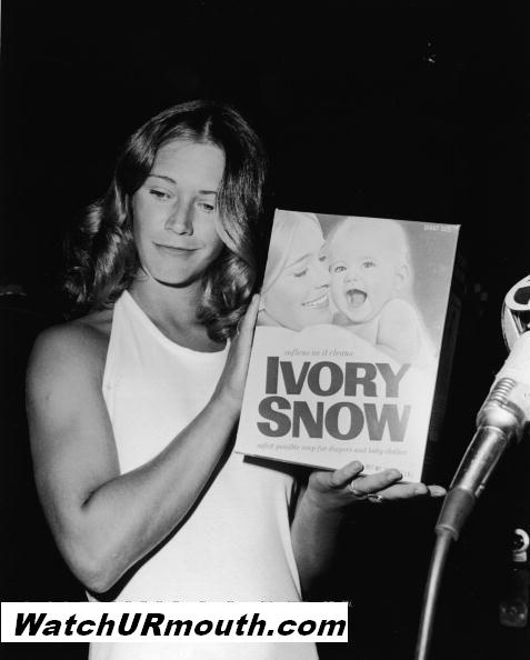 Marilyn Chambers posing with her Ivory Snow box